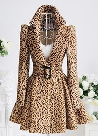 Stylish Turn-Down Collar Long Sleeve Leopard Print Belted Coat For Women