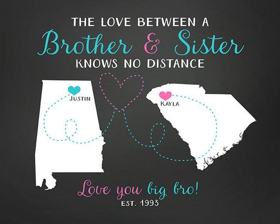 Gift For Brother Sister Long Distance Maps Birthday Gift For Etsy Birthday Gifts For Sister Birthday Present For Brother Diy Gifts Sister
