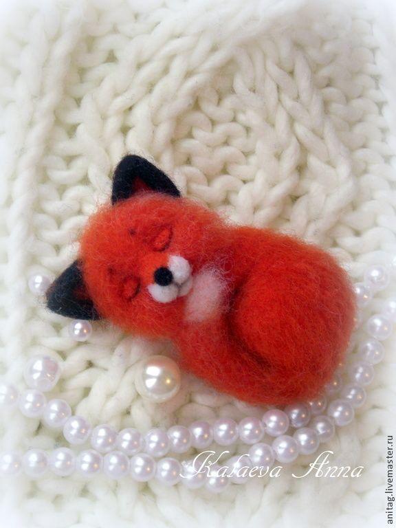 Купить Спящая лисичка брошь - рыжий, брошь, брошка, брошь из войлока, брошь из шерсти