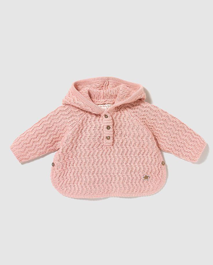 Jersey de bebé niña Brotes en rosa con capucha