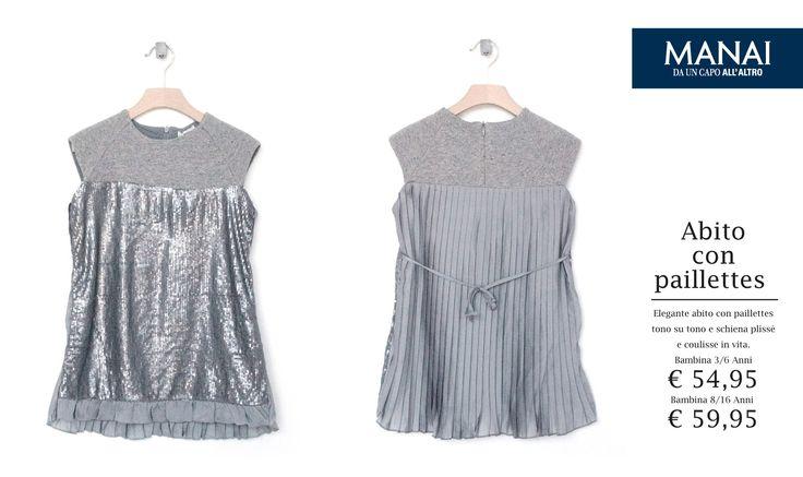 Elegante abito con paillettes tono su tono, schiena plissé e coulisse in vita. #Manai #abbigliamentobambinionline #abbigliamentobimba #abbigliamentobimbi #abbigliamentoneonato #DaUnCapoAllAltro