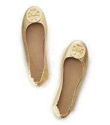 Gold Tory Burch Minnie Metallic Travel Ballet Flat