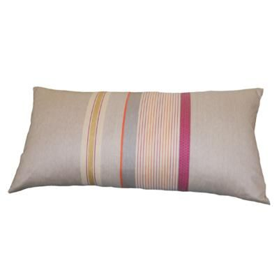 A beautiful cushion designed by Laura Fletcher.  60cm x 30cm pink & orange duck feather cushion pad included. Available from www.newhousetextiles.co.uk