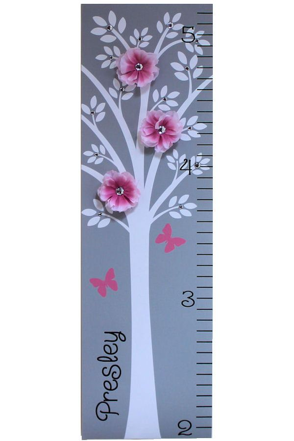Growth Chart Children Baby Personalized  Canvas Growth Chart Modern Pink Grey Nursery Tree Flower. $44.95, via Etsy.
