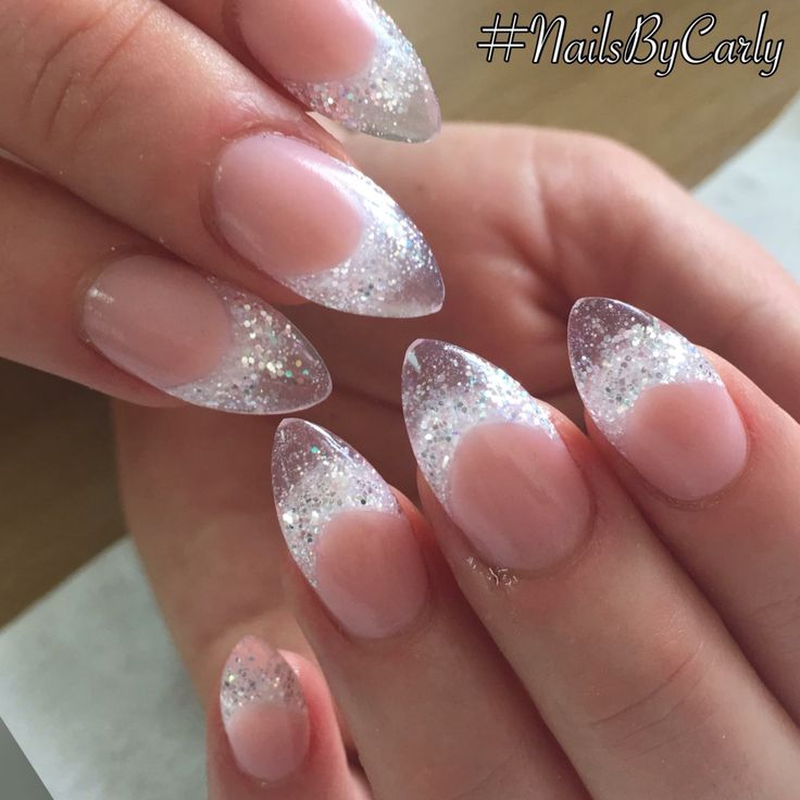 Silver glitter almond acrylic nails