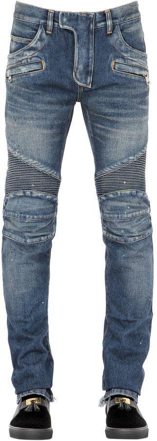 18cm Washed Cotton Denim Biker Jeans- 7112style.website -