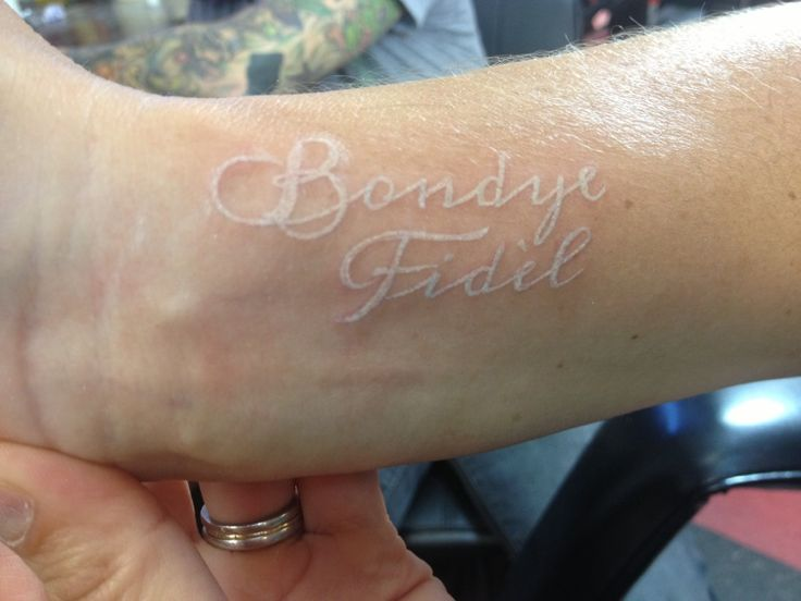 """""""God is Faithful"""" in French Creole. To commemorate my mission trip to Haiti. White Tattoo"""