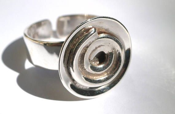 Spiral Silver Ring Domed Ring Spiral Charm Sterling Silver