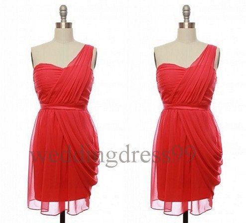 Custom One Shoulder Short Red Bridesmaid Dresses by weddingdress99, $71.00