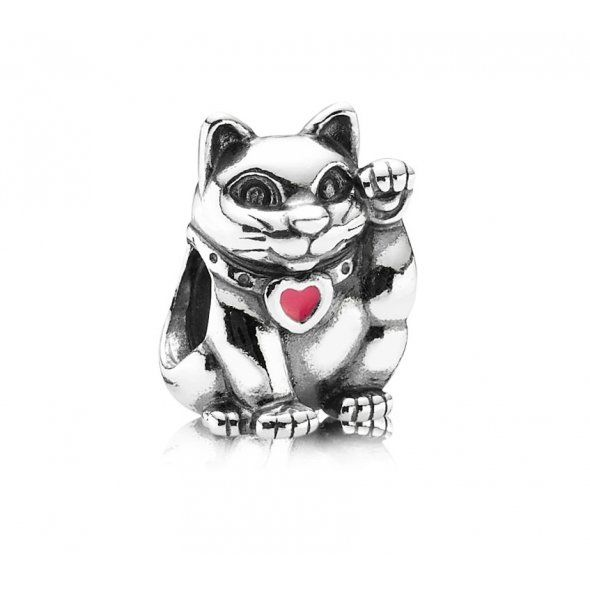 SILVER AND PINK ENAMEL WAVING CAT CHARM