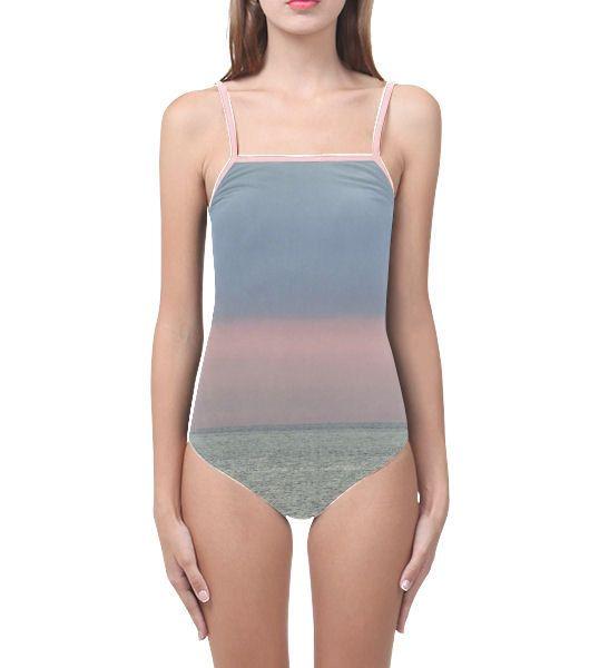 Sunset swimsuit pink horizon swimming costume one piece size xs s m l xl xxl xxxl sea holiday shop stripes sunrise photo landscape pink blue by RedThanet on Etsy