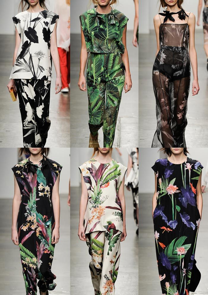 New York Womenswear Print Highlights Part 2 – Spring/Summer 2015 catwalksBrazilian Botanical Garden – Contrasting Backgrounds – Lush Tropical Leaf Prints – Over-scaled Imagery – Photographic Realism – Intricate Botanical Detail – Vibrant Brights & Contrasting Monochrome Prints