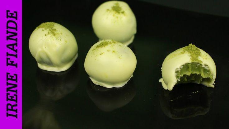 Шоколадные трюфели с белым шоколадом и зелёным чаем Матча