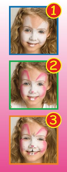 Step by step guide for a children's bunny rabbit face painting. Very cute. Ideal for Easter time.