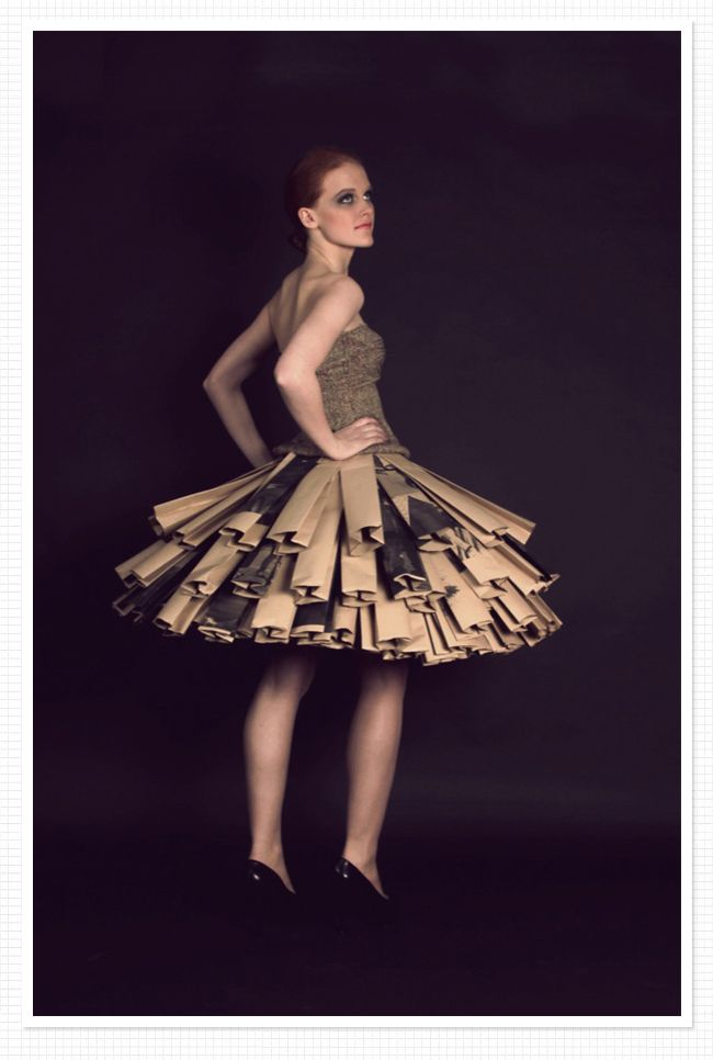 Project Runway famously challenges designers to create avante garde fashion from found objects. This site describes the construction of a paper dress with wire, tape and hot glue. Inspiration for a challenging student project!