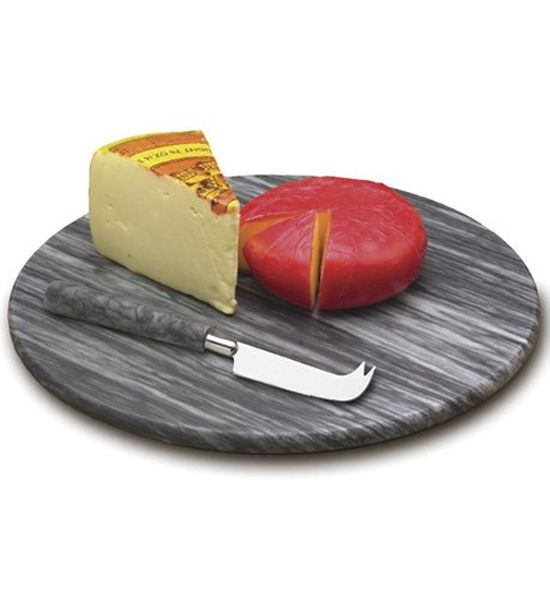 This Marble Cheese Board Set lets you slice cheeses and other appetizers and then serve them to your guests on the same tray