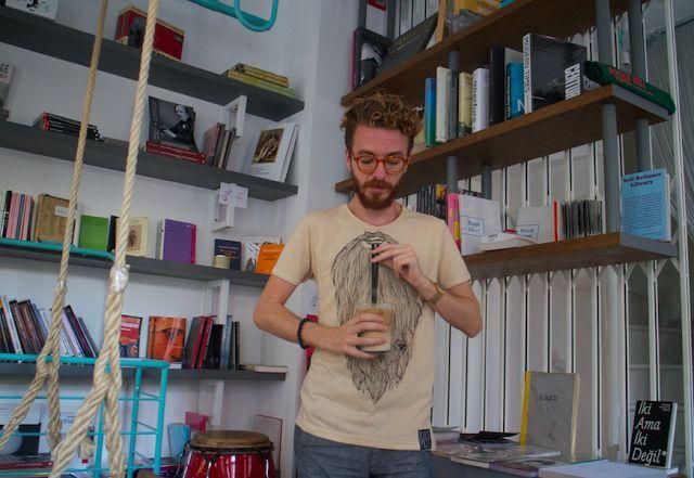 His Wardrobe - Ben Göze having a drink with his Bear Beard t-shirt :D