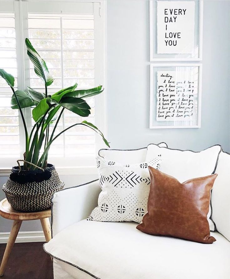 Handmade mudcloth and leather pillows