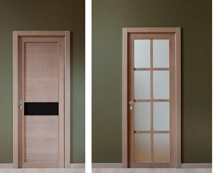 Распашные межкомнатные двери. Две филенки и стекло.