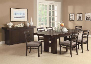Toronto Double Pedestal Dining Set at www.GoWFB.ca | made of ash solids and hardwoods provides easy-going style to your casual or semi-formal dining room. The modern table features clean lines with the substantial H-form double pedestal bases. The pull out extension leaf enhances the versatility of this table so it adjusts to the size you need, no matter the occasion.
