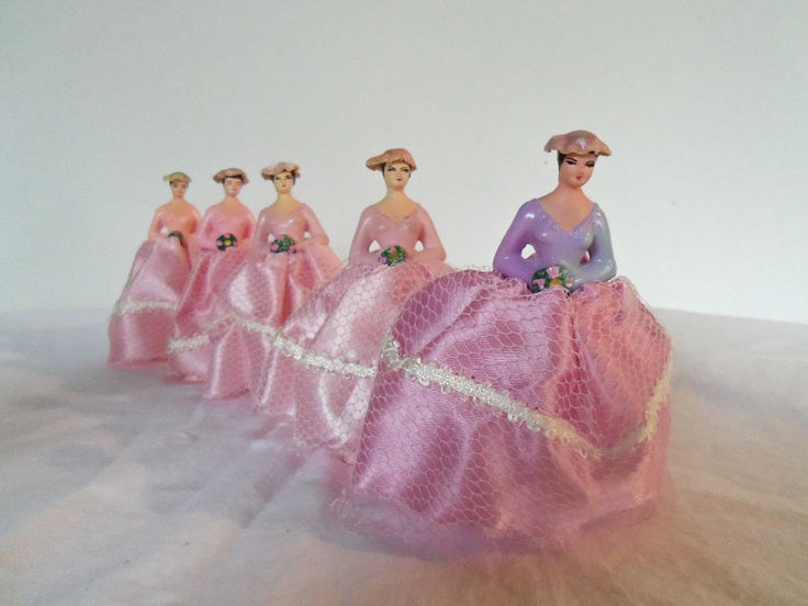 Vintage Pink Bridesmaids Wedding Decorations And Bells Cake Topper Via Etsy