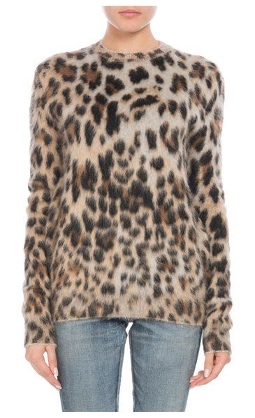 1209bd0c5eae60 Saint Laurent Crewneck Long-Sleeve Leopard-Print Mohair Sweater.  #saintlaurent #sweaters #crewnecksweaters
