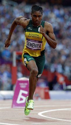 Caster Semenya winning silver in womans 800 meter.