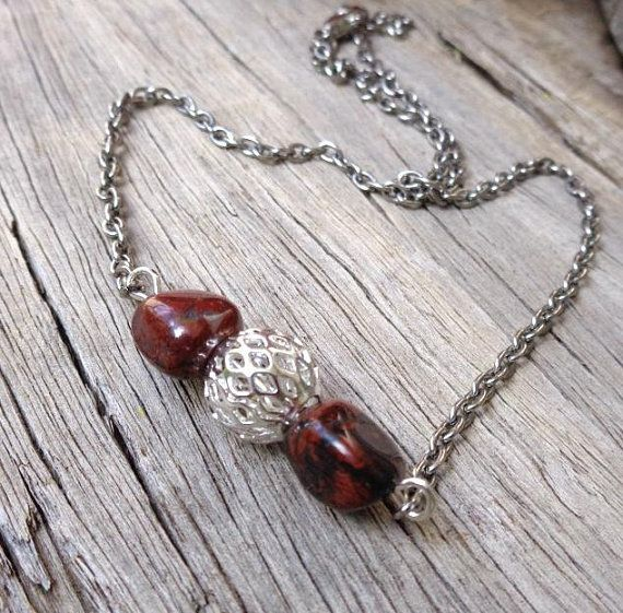Red Poppy Jasper Bar Necklace, Gemstone Necklace, Statement Necklace, Protection Necklace, Gift for Her, Unique Necklace, Mother's Day Gift