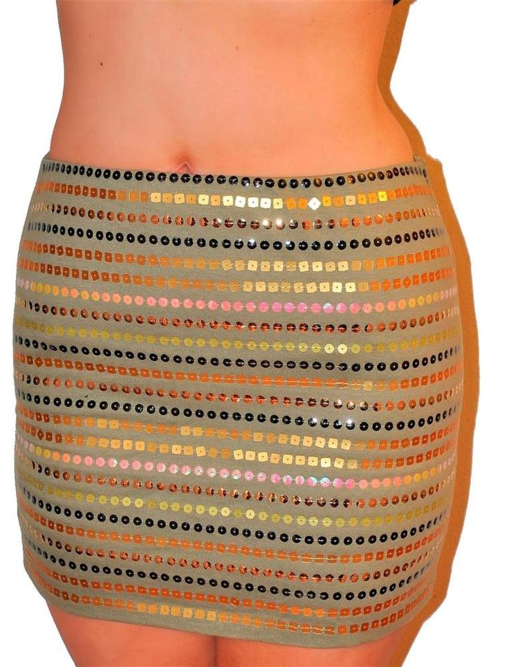 Sexy Green Sequin Stripe 90'S Bodycon Stretchy Wet Seal Mini Skirt NWT Glam #WetSeal #StraightPencil
