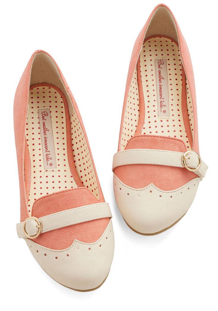 Sip of Liqueur Flat in Peach. Sample cocktails in refreshing style when you wear these colorblocked flats to your friends mixology party! #pink #modcloth