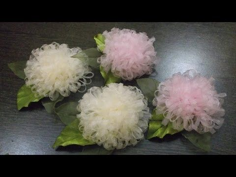 Cheap and Chic: Super Quick and Pretty Tulle Flowers - YouTube
