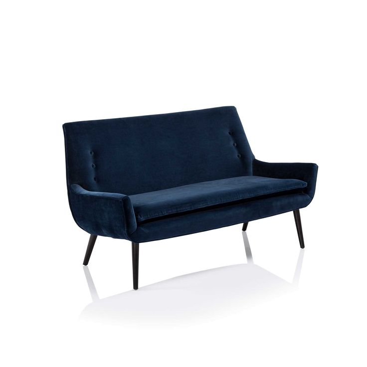 Small settee with big style by Jonathan Adler with mid-century modern lines and deco tufted detail.