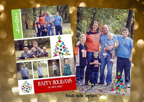 Holiday Christmas Photo Cards Add Photo(s) Any Colors Blocks