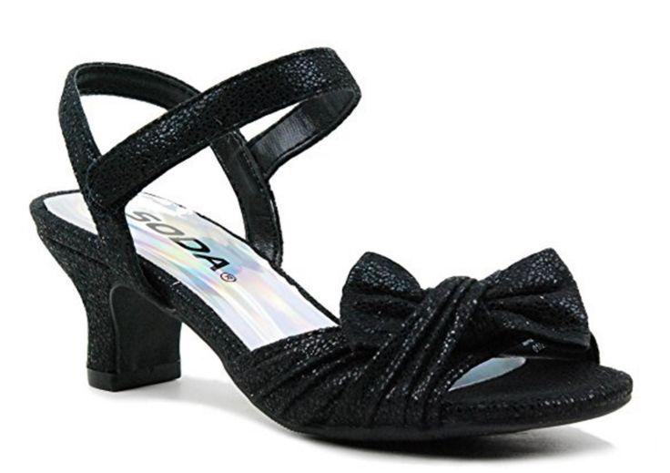 Little Girls Pageant Glitter Sparkling High Heels Sandals Floral Girl Dress Shoe (Carry-IIS)