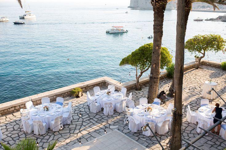 This gorgeous wedding took place in 2017 at the Elegant private terrace in Croatia. #destinationwedding #croatia #seaviewwedding #reception