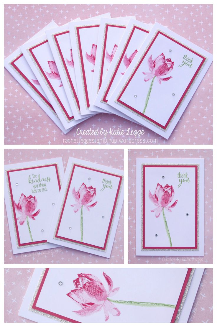 Stampin' Up! Simple & Easy Strawberry Slush Lotus Blossom Thank You Note cards