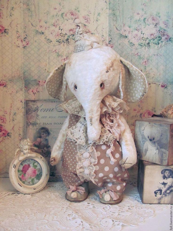 Купить Слоник Луис. - слон, слоник, тедди, слоник тедди, белый, шебби, шебби шик