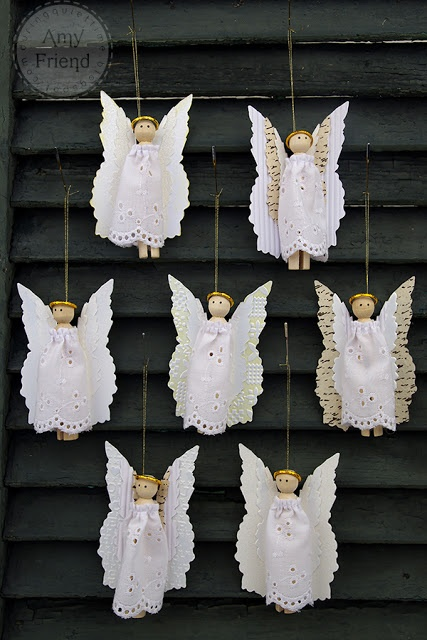 Angel ornaments made using Tim Holtz Layered Angel Wing Die by Sizzix--During Quiet Time