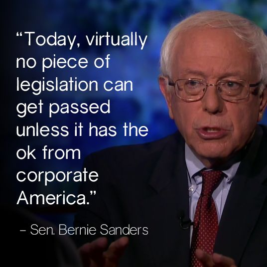 Sen. Bernie Sanders refuses money from lobby funding for his campaign or coffers.  America needs to come forth on this one and support Bernie in his fight to get Corporate money out of our political system. http://www.sanders.senate.gov/ 2016 looks like a contender to me!!!!