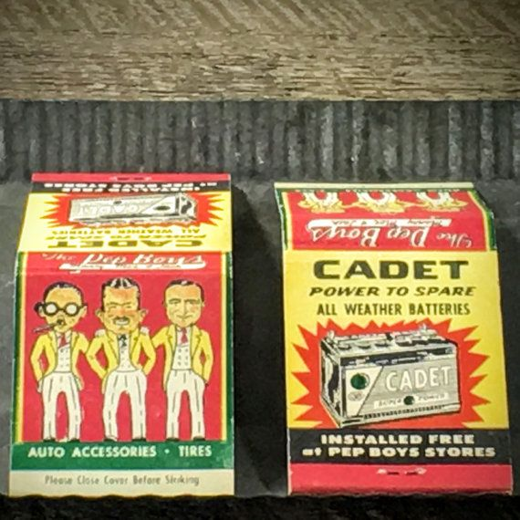 Old Matchbooks w/ Pep Boys Advertising  ~ Vintage Pep Boys Match Packs  ~ From the 1950's  ~ Great Condition- Packs are New  ~ See Photos for more detail #automobilia