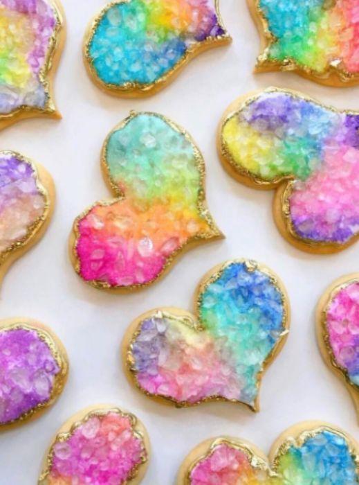 Rainbow geode sugar cookies