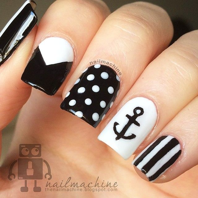 Concrete And Nail Polish Striped Nail Art: Anchor. Polka Dorts Nails. Black. Stripes. Nail Art. Nail