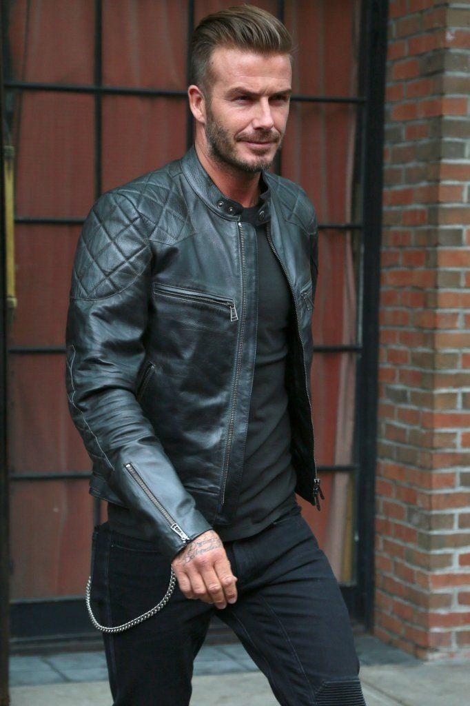 Mens Handmade Black David Beckham Vintage Real Leather Quilted Biker Jacket