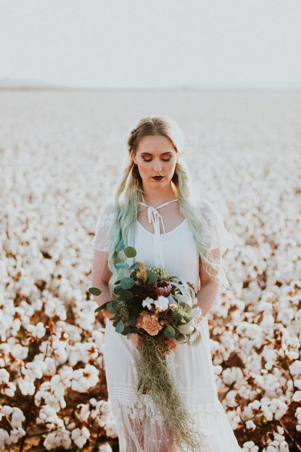 This Alternative Elopement Inspiration in a Cotton Field is Perfect for Fall