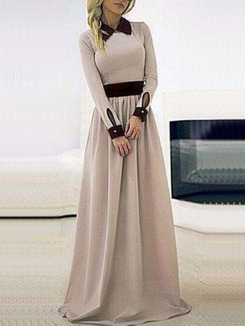 Lapel Long Sleeve Maxi Dress