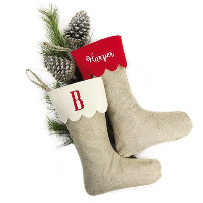 Personalized Jute Stocking with Scalloped Cuff by Heartstrings, sale $25.99