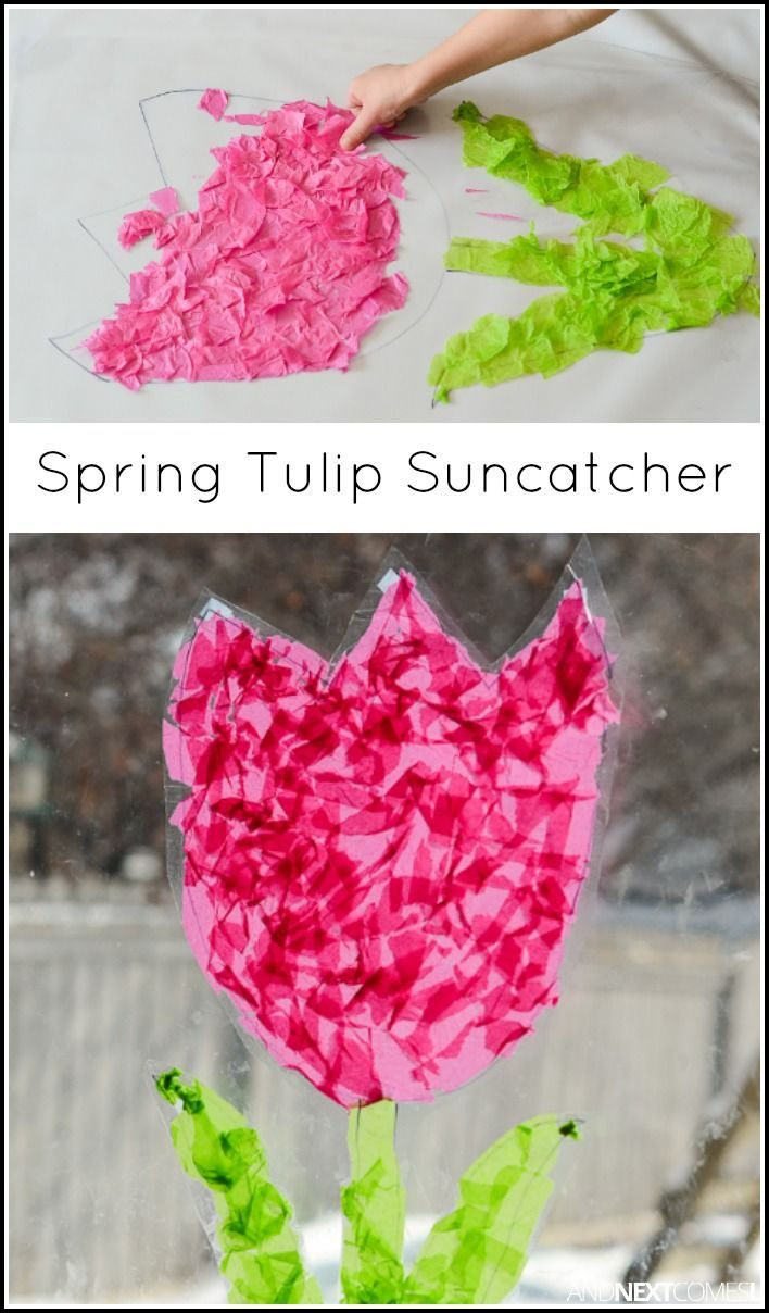 Easy spring crafts for seniors - Easy Spring Craft For Kids Make A Tulip Suncatcher From And Next Comes L