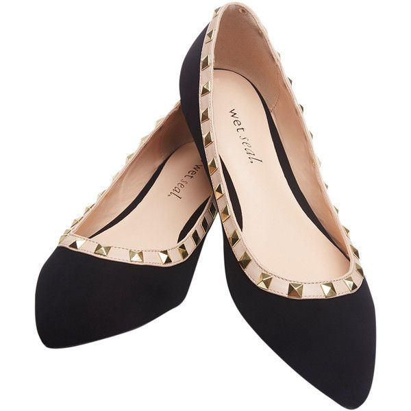 Legend Footwear  Pointed Flats With Pyramid Stud Detail ($15) ❤ liked on Polyvore featuring shoes, flats, black, wet seal, studded flat shoes, pointy shoes, studded flats, black flats and black shoes