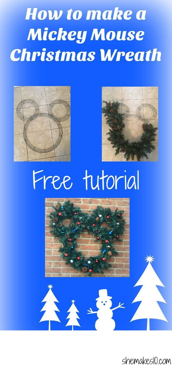 Make a Mickey Mouse Christmas wreath. Bring a piece of Disney home for the holidays with this easy to make DIY Mickey wreath.