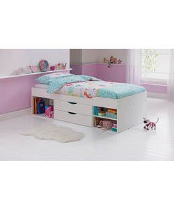 shelby single white cabin bed frame with ashley mattress